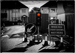 'When the red light show...'  33/52 (kirby126) Tags: 52 canon60d canon 50mm 18 pjlimages traffic lights temopary railway footbridge removal road red streets