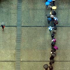 Umbrellas (nathaliedunaigre) Tags: pluie umbrellas parapluies umbrella parapluie personnes people paris carré square place vue view beaubourg attente wait urban urbain ville city