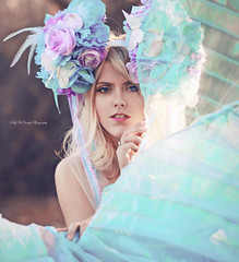 Cerulean Maiden II (Kelly McCarthy Photography) Tags: woman model beautiful beauty fashion style portrait portraiture closeup blonde blueeyes makeup blue purple teal turquoise catchycolorspurple catchycolorsblue bokeh bokehwhores flowers floral headdress floralheaddress