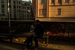 Sundown melancholia (Dovhage Photography) Tags: vienna austria sundown couple street breakup sadness architecture color yellow golden graffiti autumn herbst mood leaves gold light shadows heartbreak urban city dovhage schnbichler 2016