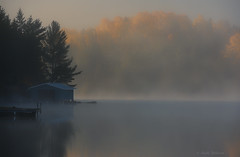 Misty & Mysterious (Lindaw9) Tags: shanty bay autumn mist trees colours boathouse dock