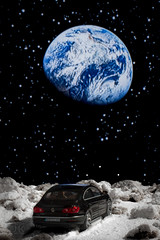 """Honey, I think we are lost"" (markoknuutila) Tags: moon lunar car landscape volkswagen vw passat"