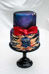 Doctor Who Wedding Cake (brian_barney9021) Tags: meringue bakery doctor who cake wedding inspiration food bow tie nikon photography pastry dessert white d7200 35mm lens lacrosse wi wisconsin stand black background space tardis police box
