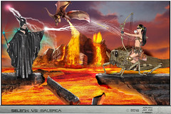 SELENEX VS MALEFICA (ADRIANO ART FOR PASSION) Tags: malefica maleficent duello drago dragon lava roccialiquefatta cosplay torinocomics2016 fantasia fantasy photoshop fotomontaggio photomontage fight
