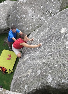 guiding up boulder