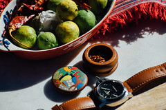 Entheogen (Dana L. Brown) Tags: toucan red chili pepper flakes salvia trip key limes guatemala textile blanket pam111 panerai