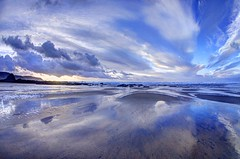 Seeing you around (pauldunn52) Tags: sea sky reflections wet sand widemouth bay black rock cornwall clouds
