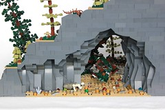 Skogrbani's Lair (soccersnyderi) Tags: lego moc creation model landscape nature scene forest woods trees waterfall cave rockwork lair arch