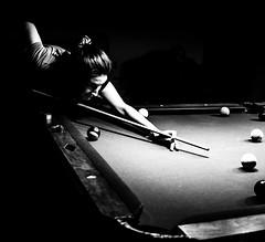 Shark (Cheryl Atkins) Tags: bnw fujixt2 niece monochrome blackandwhite billiards pool