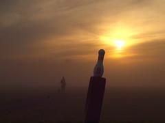 NO STRIKE  WALKING TO WITH MIST FPB271983 (hans 1960) Tags: sun sunrise mist misty farben colour golden licht light woman outdoor strike nature natur landschaft dog walk nebel fog weg way germany sol soleil sonenaufgang