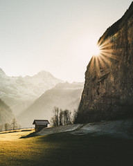 Lauterbrunnen Valley (noberson) Tags: lauterbrunnen switzerland sun sunny unset star sunstar hut cabin rock rocks mountain mountains alps