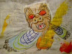 Night Goby (giveawayboy) Tags: pencil crayon drawing sketch art acrylic paint painting fch tampa artist giveawayboy billrogers night goby cryptid mystery creature bat werewolf owl 16 fish bird person