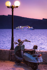 From Ammoudi (Derek Giovanni Photography) Tags: horizon cruise fibonacci color vacations mororcycle purple water boats angle light lights ammoudi auto warm santorini pink angles cycle colors greece scooter sunset boat vacation