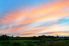 Pink&Orange (cj_millar9) Tags: pink blue ireland light sunset orange sun nature set landscape photography long exposure colours vibrant fields ni northern glenoe