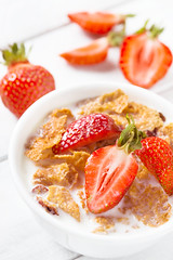 Healthy breakfast with strawberry (kasha_malasha) Tags: morning red summer food white closeup fruit breakfast table dessert milk healthy strawberry berry colorful bright sweet cut grain cereal strawberries bowl fresh delicious health snack meal vegetarian organic diet dairy fiber flakes granola cornflakes oat nutrition ingredient muesli