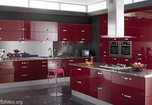 Cozinhas planejadas vermelhas