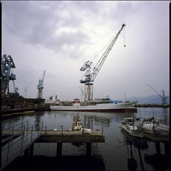 back side of the bay  (HASSELBLAD SWC) (potopoto53age) Tags: sea 6x6 film japan zeiss port photoshop mediumformat square boat industrial ship cargo f45 adobe squareformat carl  epson fujifilm extended fishingboat provia shizuoka swc 100f cs4 38mm cargoship biogon fishingport appleaperture rdp3 fujifilmprovia100f  hasselbladswc industrialport shimizuport  hasselbladsuperwidec  shizuokashi epsongtx970  gtx970 potopoto53age carlzeissbiogon38mmf45  adobephotoshopcs4extended shimizuku mygearandme  backsideofthebay