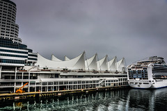 Princess Cruises - Diamond Princess docked at Canada Place Vancouver BC Canada (mbell1975) Tags: ocean ca cruise sea cloud mist canada water fog vancouver clouds bay boat dock ship bc waterfront place cloudy britishcolumbia foggy columbia terminal canadian line british passenger van canadaplace strait cruiseline mygearandme