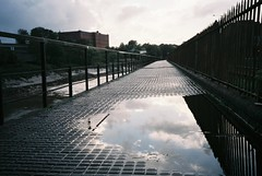 Chocolate path puddle (knautia) Tags: uk england reflection film river bristol puddle october fuji superia olympus ishootfilm xa2 footpath avon 400iso riveravon 2013 chocolatepath xa2roll106