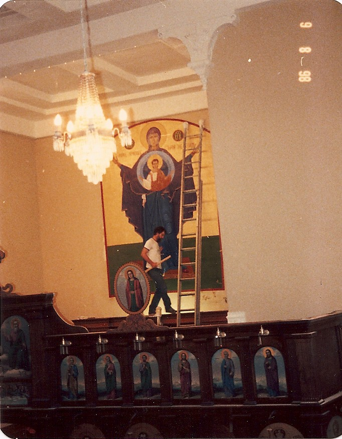 Fr. Gregory Phelan working on the iconostasis