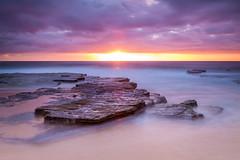 Sunrise Kiss (jpaoloa) Tags: longexposure beach clouds sunrise sand rocks waves horizon sydney australia shore northernbeaches turimetta