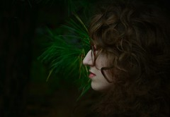 - (juliakersten) Tags: trees shadow reflection tree texture girl beautiful face leaves dark hair glasses scary women forrest profile curls s lips pines shade frame lip chin