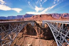 Lee's (α RAINYNEPTUNUS ω) Tags: bridge arizona film analog desert slide slidefilm coloradoriver agfaprecisa analogphotography leesferry filmphotography precisa desertlife