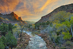 Once Upon a time.... (Sapna Reddy Photography) Tags: trees sunset sky mountain fall nature colors clouds river landscape twilight nps zion virginriver watchman