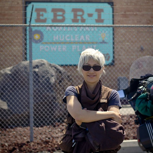 EBR-1: Melissa in front of the entrance to the first nuclear power generator