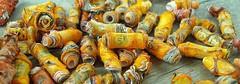 Handmade orange recycled plastic beads (yarnography) Tags: orange yellow beads handmade plastic recycling