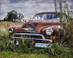 Out to Pasture - color (A Anderson Photography, over 1 million views) Tags: travel chevrolet canon chevy oldcar classiccars antiquecars nikcolorefexpro countrybackroads
