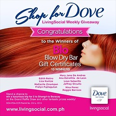 Congratulations to winners of Shop for Dove LivingSocial Weekly Giveaway. Visit www.ensogo.com.ph for more details on how to join.