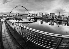 Millennium Bridge. Gateshead side. (CWhatPhotos) Tags: pictures above camera bridge sky white fish black eye monochrome digital pen river newcastle that lens lite four photography foot mono blackwhite focus day skies foto with view image artistic cloudy footbridge pics side wide january picture millenium pic olympus images tyne millennium quay gateshead fisheye have photographs photograph walkway fotos micro manual 35 olympuspen which span fit contain 43 quayside thirds tilting 2014 f35 75mm spanning mft samyang esystem sanyang cwhatphotos epl5