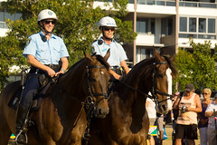 Mounted Police Unit (Kokkai Ng) Tags: park people horse smiling animal horizontal female outdoors community women uniform day suburban helmet working sydney police sunny australia demonstration event riding mounted policewoman newsouthwales showing rhodes oldfashioned unit occupation policehorse sydneyaustralia communityevent residentialdistrict mountedpoliceofficer emergencyservicesoccupation