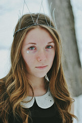 winter queen (eugenie.a) Tags: winter portrait people snow cold tree girl forest 50mm star wire young crown {vision}:{people}=099 {vision}:{face}=099 {vision}:{portrait}=099