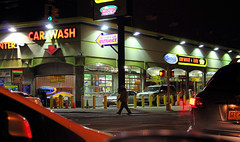 Car wash (henulyphoto) Tags: light window car sign dark person automobile driving traffic cab taxi plate cleaning clean van suv sick washing peopl taillight washcaryellowliightdarkwater