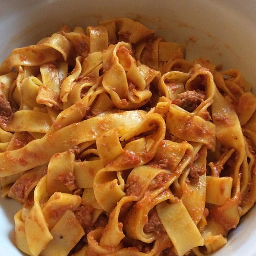 Great ragu with peppers and pork