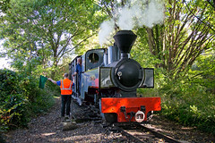 Kerr Stuart 'Joffre' 3014 departs Delph station and John hands Alan the totem for the right of way, West Lancashire Light Railway 02.10.2016 (alannaylor85) Tags: kerr stuart west lancashire light railway 3014 joffre