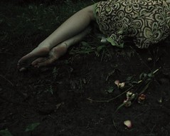 The Days of Barefoot, The Wilt (CSKalinsky) Tags: portrait girl feet color anonymous barefoot flower mood darkart outdoor