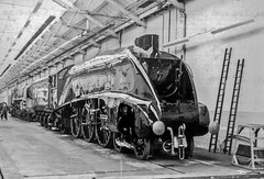 Crewe Paint Shop (4486Merlin) Tags: bw dominionofcanada england europe exlner lnerclassa4 northwest railways steam streak transport unitedkingdom workshop crewe cheshire gbr 60010 creweworks paintshop