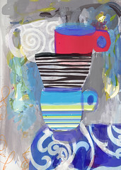 Piled cups of tea (amaradacer) Tags: painting collage mixedmedia art cup tea cups mugs coffee blue red black abstract contemporary figurative modern grey textures