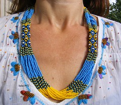 Seed Bead Necklace Yellow/Blye/Black (Seed Bead Necklace) Tags: yellowblue ukrainian ukrainianjewelry ukrainiannecklace jewelryonetsy jewelry holidayjewelry handmadejewelry beadednecklace seedbeadnecklace beaded gifts giftsforwomen