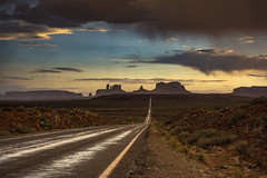 The Road... Monument Valley (Fabio Tode ) Tags: monumentvalley monument valley arizona utah fabiotode nikon d7200 filter polar gnd sunset mountain road street tramonto sky yellow rain wet storm prospective usa nikkor