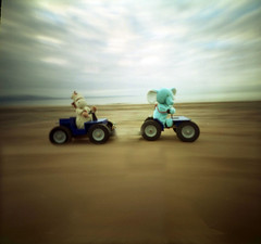 Quads on the Beach (wheehamx) Tags: pinhole soft toy adventure quad beach hoss bige