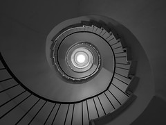 Eight floors and the basement (rainerralph) Tags: stairs olympus architektur treppenauge gorillapod architecture staircase treppen deutschland omdem5markii germany objektiv714pro treppe