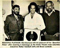 Neil Diamond - Beautiful Platinum Noise (musicloverdiamond) Tags: neildiamond beautifulnoise 1976 platinum record award rock newspaper