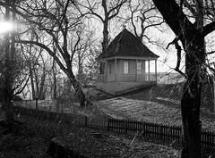Pavilion on the Hill (sterileeye) Tags: brekkeparken skien norway house monochrome black mamiya 645 ilford fp4 rodinal pullprocessing telemarkmuseum witter