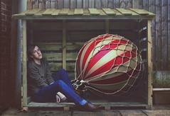 A Delayed Takeoff (Thomas Oscar Miles) Tags: fineart beauty hotairballoon conceptualphotography whimsy peterpan magic whimsical thomasoscarmiles nikon surreal selfportrait red