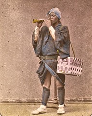 A  Sweetmeat vendor with flageolet ca1870 (SSAVE w/ over 6.5 MILLION views THX) Tags: japan japanese customs costumes culture 1870 flageolet flute streetvendor sweatmeats