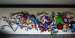 Yikes (Steve Taylor (Photography)) Tags: art graffiti mural streetart colourful fun newzealand nz southisland canterbury christchurch city cbd outline abstract clock bottle jacob yikes polkadot